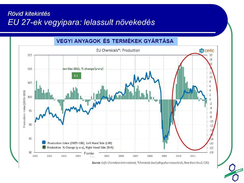 Rövid kitekintés EU 27-ek vegyipara: lelassult növekedés VEGYI ANYAGOK ÉS TERMÉKEK GYÁRTÁSA Forrás: