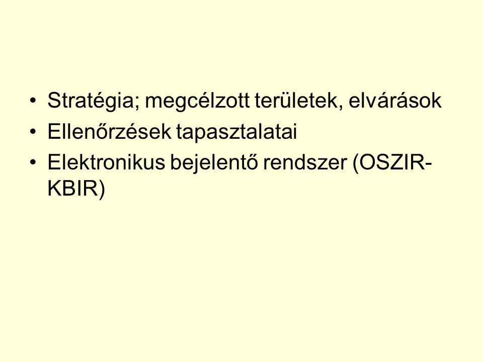Stratégia; megcélzott területek, elvárások Ellenőrzések tapasztalatai Elektronikus bejelentő rendszer (OSZIR- KBIR)