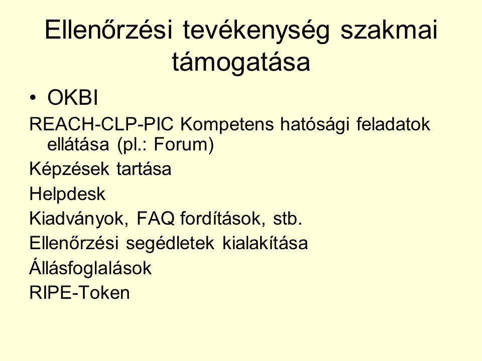 Ellenőrzési tevékenység szakmai támogatása OKBI REACH-CLP-PIC Kompetens hatósági feladatok ellátása (pl.: Forum) Képzések tartása Helpdesk Kiadványok,