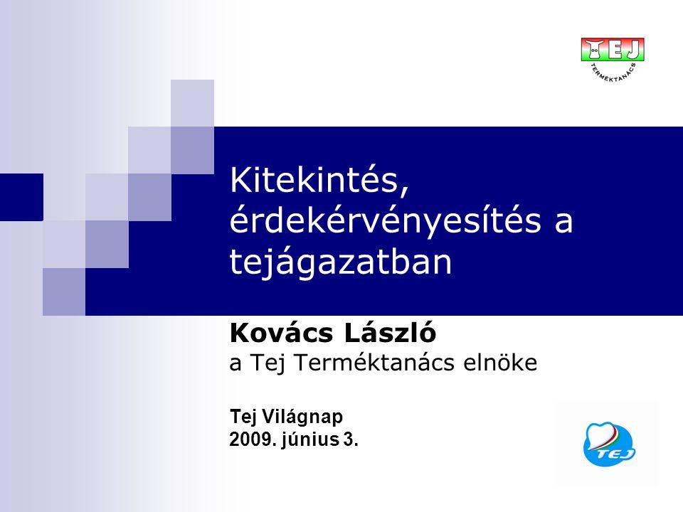 Kitekintés, érdekérvényesítés a tejágazatban Kovács László a Tej Terméktanács elnöke Tej Világnap 2009.