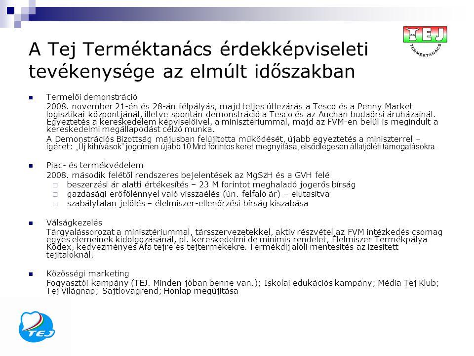 A Tej Terméktanács érdekképviseleti tevékenysége az elmúlt időszakban Termelői demonstráció 2008. november 21-én és 28-án félpályás, majd teljes útlez