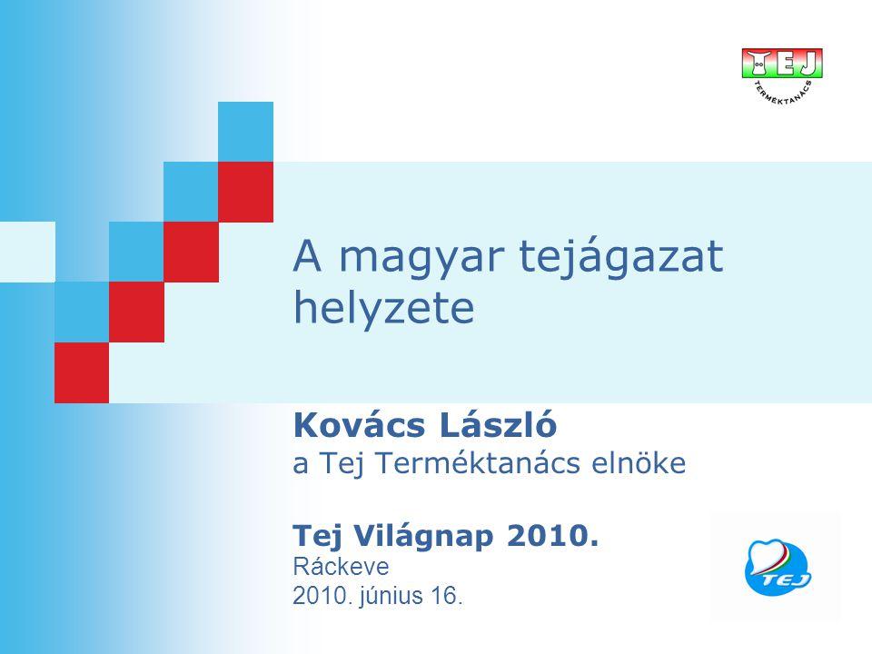 A magyar tejágazat helyzete Kovács László a Tej Terméktanács elnöke Tej Világnap 2010. Ráckeve 2010. június 16.