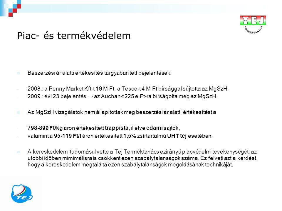 Piac- és termékvédelem Beszerzési ár alatti értékesítés tárgyában tett bejelentések: - 2008.: a Penny Market Kft-t 19 M Ft, a Tesco-t 4 M Ft bírsággal