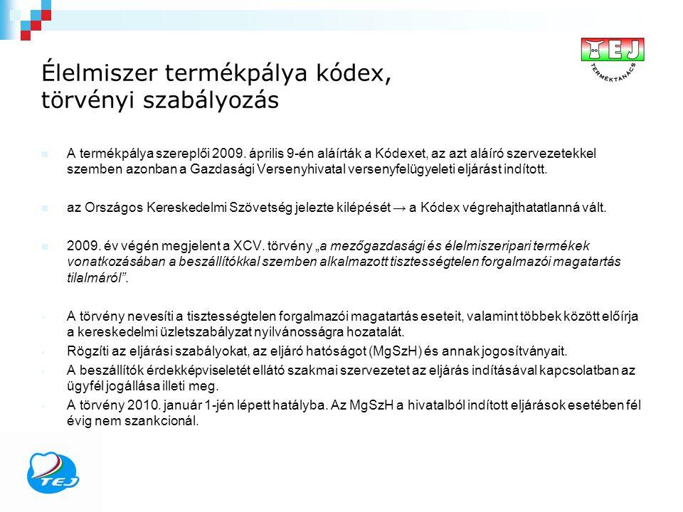 Élelmiszer termékpálya kódex, törvényi szabályozás A termékpálya szereplői 2009. április 9-én aláírták a Kódexet, az azt aláíró szervezetekkel szemben