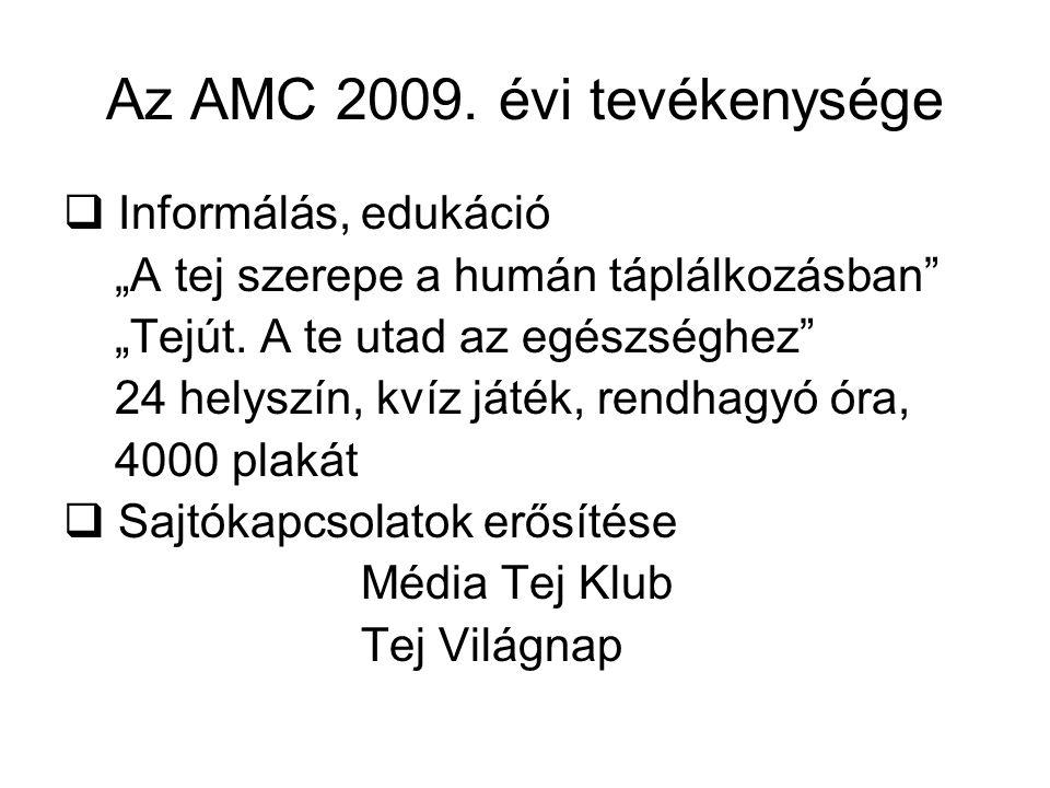"""Az AMC 2009. évi tevékenysége  Informálás, edukáció """"A tej szerepe a humán táplálkozásban"""" """"Tejút. A te utad az egészséghez"""" 24 helyszín, kvíz játék,"""