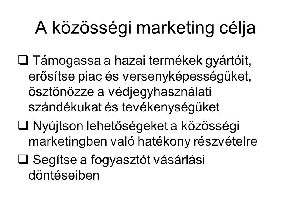 A közösségi marketing célja  Támogassa a hazai termékek gyártóit, erősítse piac és versenyképességüket, ösztönözze a védjegyhasználati szándékukat és