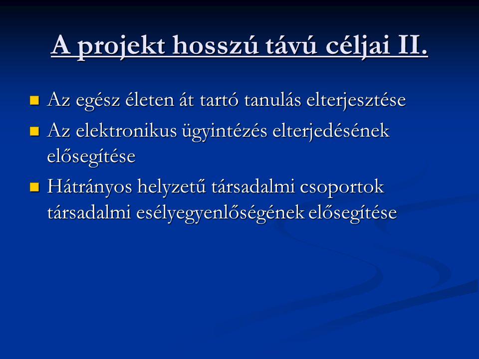 A projekt hosszú távú céljai II. Az egész életen át tartó tanulás elterjesztése Az egész életen át tartó tanulás elterjesztése Az elektronikus ügyinté