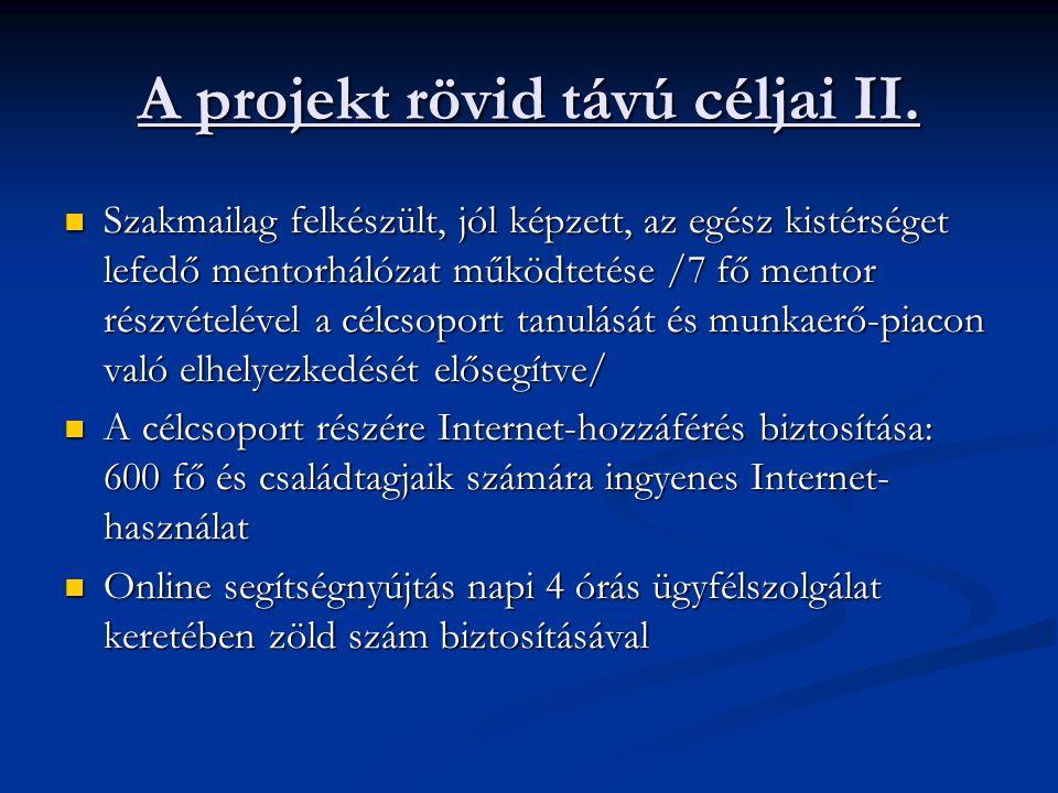 A projekt rövid távú céljai II.