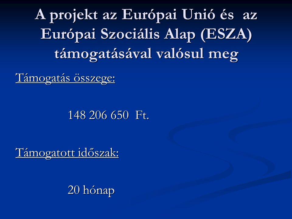 A projekt az Európai Unió és az Európai Szociális Alap (ESZA) támogatásával valósul meg Támogatás összege: 148 206 650 Ft.