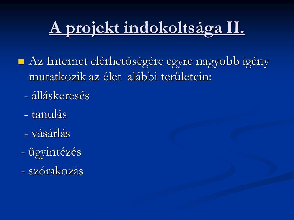 A projekt indokoltsága II. Az Internet elérhetőségére egyre nagyobb igény mutatkozik az élet alábbi területein: Az Internet elérhetőségére egyre nagyo