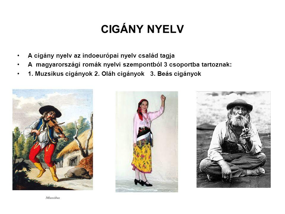 CIGÁNY NYELV A cigány nyelv az indoeurópai nyelv család tagja A magyarországi romák nyelvi szempontból 3 csoportba tartoznak: 1. Muzsikus cigányok 2.