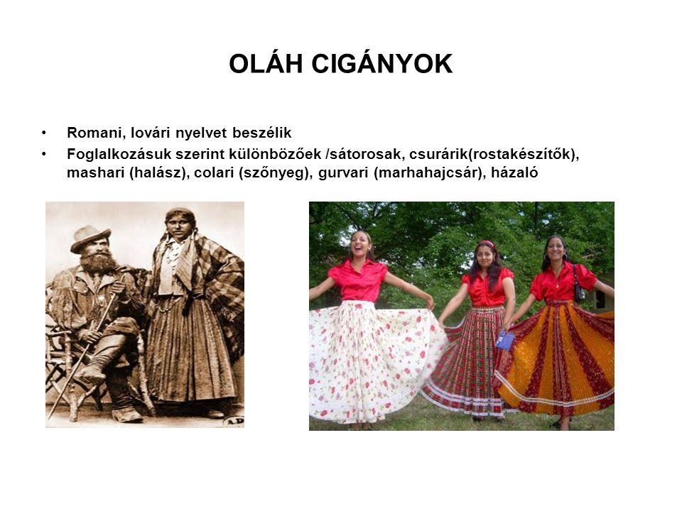 OLÁH CIGÁNYOK Romani, lovári nyelvet beszélik Foglalkozásuk szerint különbözőek /sátorosak, csurárik(rostakészítők), mashari (halász), colari (szőnyeg