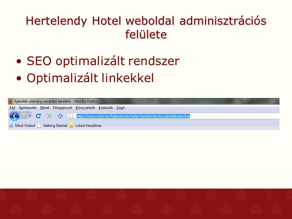 Hertelendy Hotel weboldal adminisztrációs felülete SEO optimalizált rendszer Optimalizált linkekkel