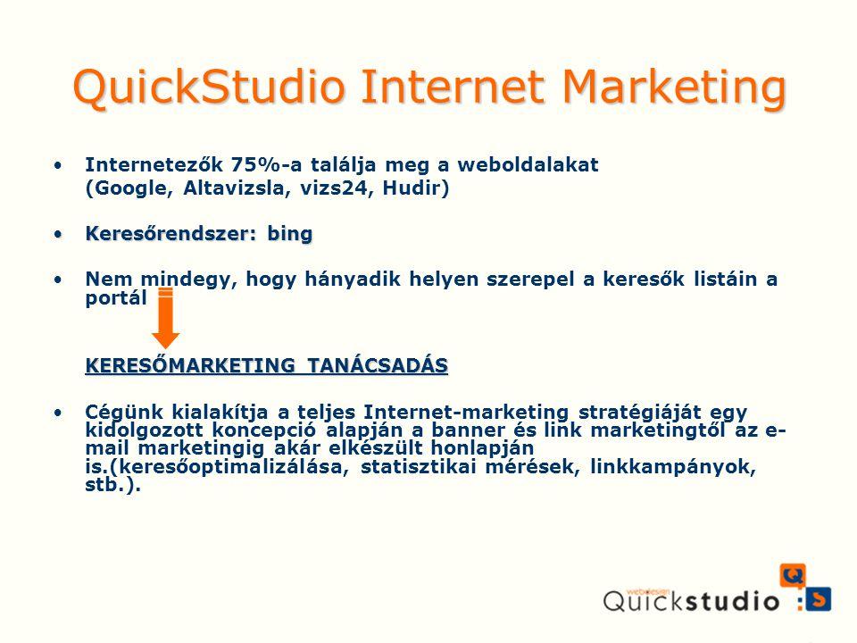 QuickStudio Internet Marketing Internetezők 75%-a találja meg a weboldalakat (Google, Altavizsla, vizs24, Hudir) Keresőrendszer: bingKeresőrendszer: b