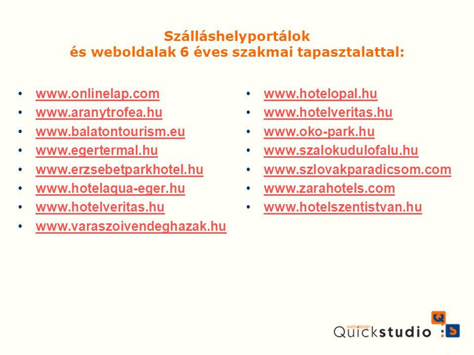Szálláshelyportálok és weboldalak 6 éves szakmai tapasztalattal: www.onlinelap.com www.aranytrofea.hu www.balatontourism.eu www.egertermal.hu www.erzs