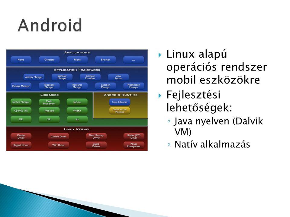  Linux alapú operációs rendszer mobil eszközökre  Fejlesztési lehetőségek: ◦ Java nyelven (Dalvik VM) ◦ Natív alkalmazás
