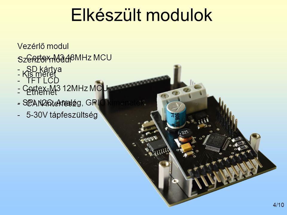 4/10 Elkészült modulok Vezérlő modul -Cortex-M3 48MHz MCU -SD kártya -TFT LCD -Ethernet -CAN interfész -5-30V tápfeszültség Szenzor modul - Kis méret