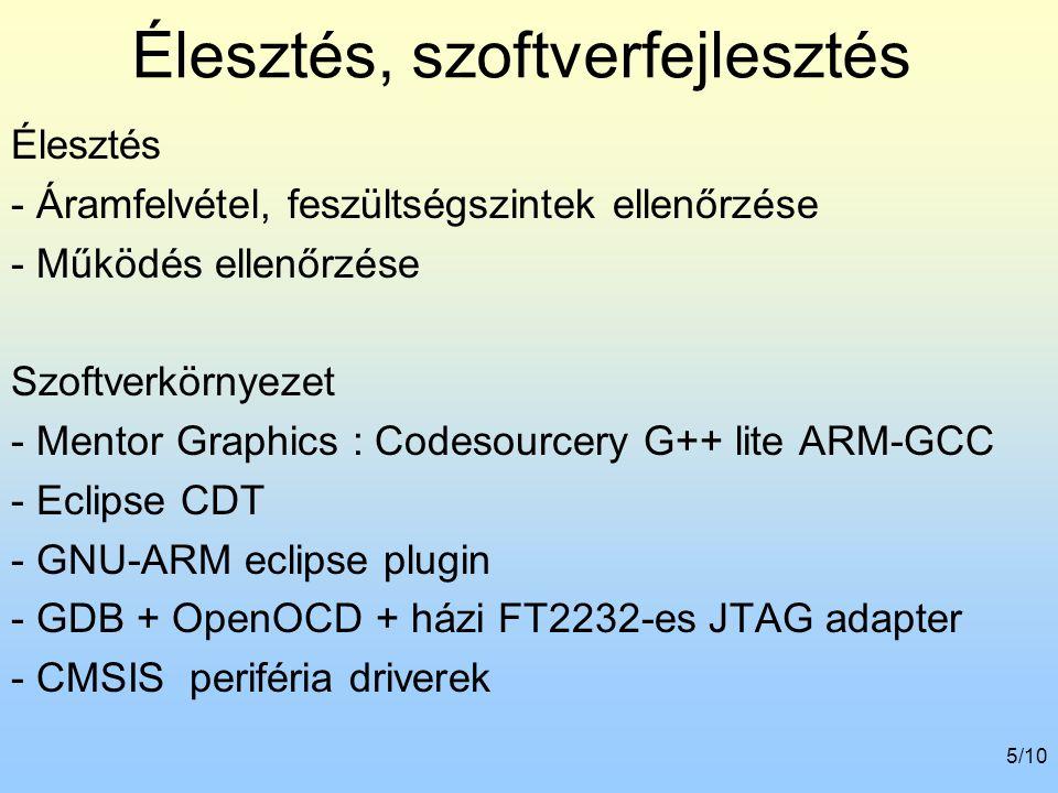 6/10 Perifériák élesztése Rétegesen felépíteni Kijelző driver SD kártya CAN interfész Buktatók - Memória interfész - CAN meghajtó