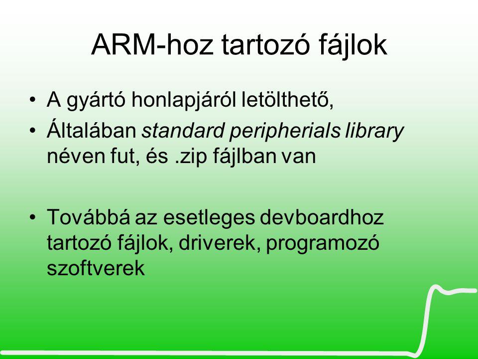 ARM-hoz tartozó fájlok A gyártó honlapjáról letölthető, Általában standard peripherials library néven fut, és.zip fájlban van Továbbá az esetleges dev