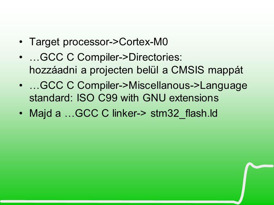 Szükséges fájlok összegyűjtése A kontrollerhez letöltött libraryból fájlokat kell összeválogatni STM32F0xx_StdPeriph_Lib_V1.0.0\Libraries\CMSIS\Device\ST\STM32F0xx\Include\ \Libraries\CMSIS\Device\ST\STM32F0xx\Source\Templates\TrueSTUDIO\.s ASM file ->A kiterjesztést.S-re átírni (nagy.S) Libraries\CMSIS\Device\ST\STM32F0xx\Source\Templates\ ebből a system_stm32f0xx.c \Libraries\CMSIS\Include\ összes.H \Libraries\STM32F0xx_StdPeriph_Driver\ ebből az \inc és \src mappából most az alábbiakat ….rcc.c és rcc.h ->órajel modul driver ….gpio.c és gpio.h -> portlábakhoz állítgató cuccok, meg konfig cuccok ….tim.c és tim.h-> timer Linkerscript: …\Project\STM32F0xx_StdPeriph_Templates\TrueSTUDIO\Project\stm32_flash.ld És a konfigfájl, ez lehet innen: …\Project\STM32F0xx_StdPeriph_Examples\GPIO\IOToggle\stm32f0xx_conf.h