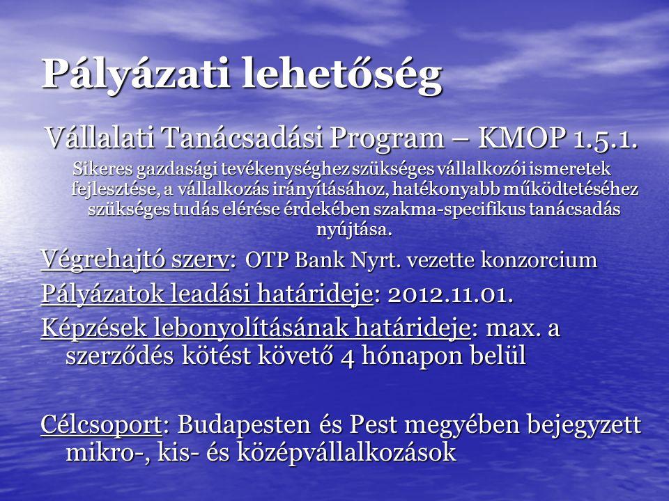 Pályázati lehetőség Vállalati Tanácsadási Program – KMOP 1.5.1.