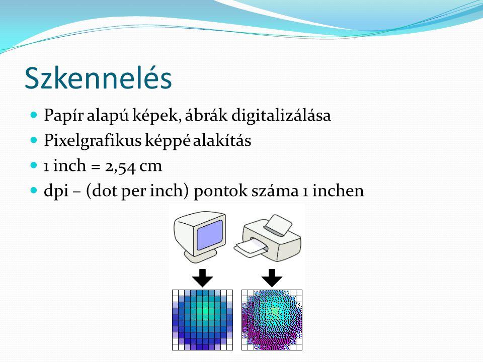 Szkennelés Papír alapú képek, ábrák digitalizálása Pixelgrafikus képpé alakítás 1 inch = 2,54 cm dpi – (dot per inch) pontok száma 1 inchen
