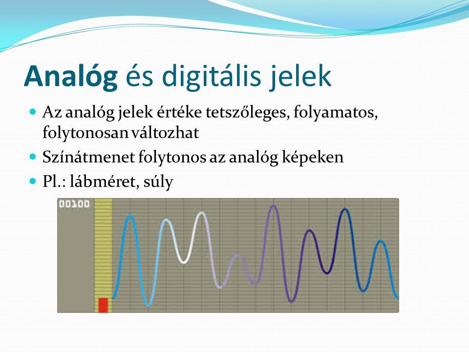 Analóg és digitális jelek Az analóg jelek értéke tetszőleges, folyamatos, folytonosan változhat Színátmenet folytonos az analóg képeken Pl.: lábméret, súly