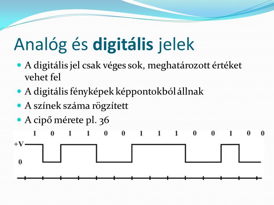 Analóg és digitális jelek A digitális jel csak véges sok, meghatározott értéket vehet fel A digitális fényképek képpontokból állnak A színek száma rögzített A cipő mérete pl.