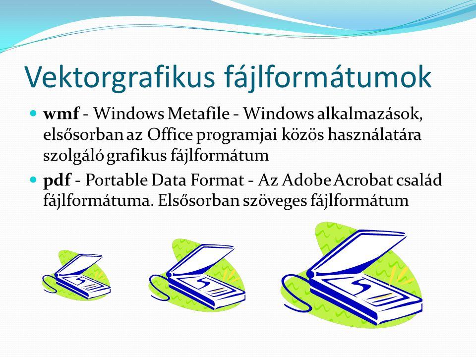 Vektorgrafikus fájlformátumok wmf - Windows Metafile - Windows alkalmazások, elsősorban az Office programjai közös használatára szolgáló grafikus fájlformátum pdf - Portable Data Format - Az Adobe Acrobat család fájlformátuma.