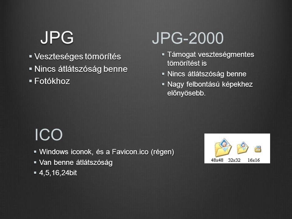 JPG  Veszteséges tömörítés  Nincs átlátszóság benne  Fotókhoz ICO  Windows iconok, és a Favicon.ico (régen)  Van benne átlátszóság  4,5,16,24bit