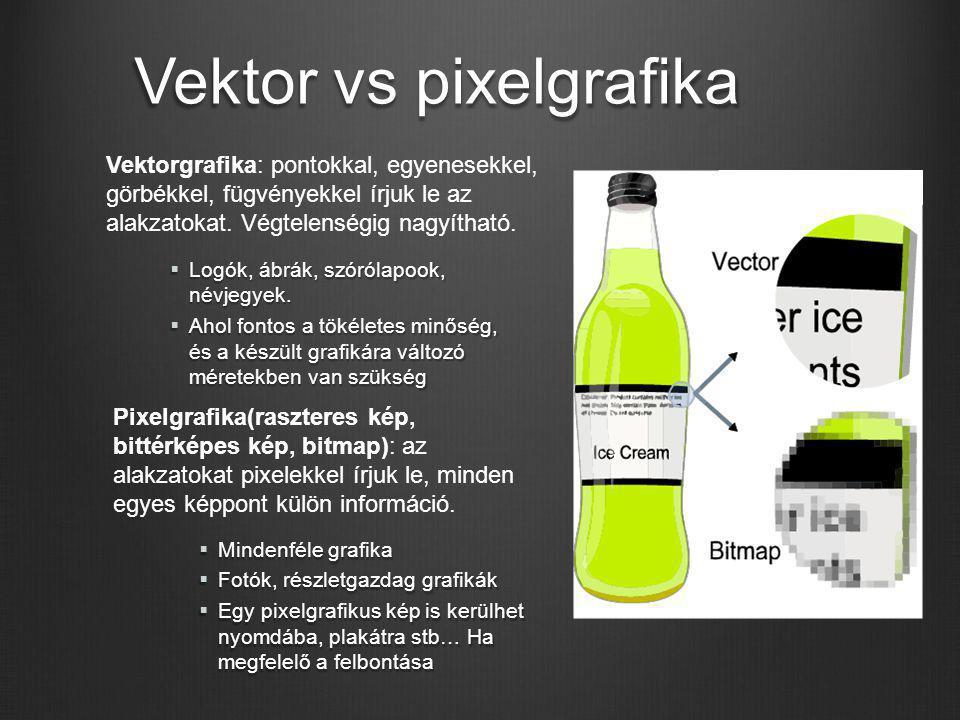 Vektor vs pixelgrafika Vektorgrafika: pontokkal, egyenesekkel, görbékkel, fügvényekkel írjuk le az alakzatokat. Végtelenségig nagyítható. Pixelgrafika