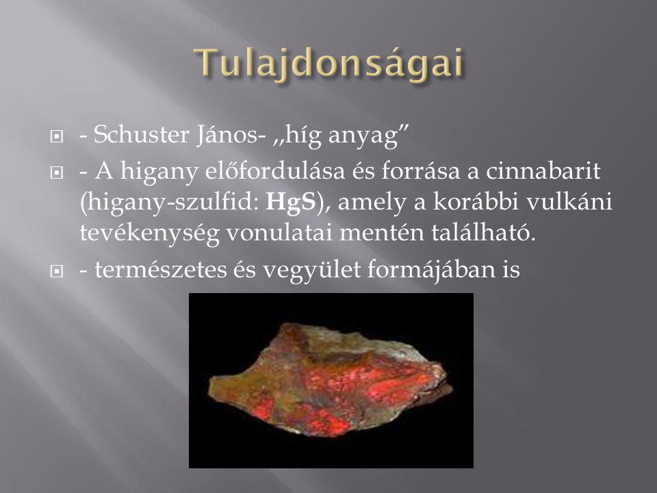 """ - Schuster János-,,híg anyag""""  - A higany előfordulása és forrása a cinnabarit (higany-szulfid: HgS ), amely a korábbi vulkáni tevékenység vonulata"""