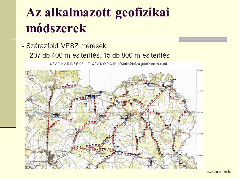 Az alkalmazott geofizikai módszerek - Szárazföldi VESZ mérések 207 db 400 m-es terítés, 15 db 800 m-es terítés www.haromko.hu