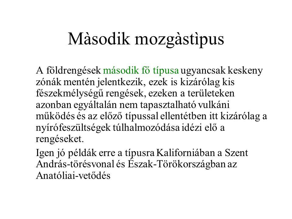 Màsodik mozgàstìpus A földrengések második fő típusa ugyancsak keskeny zónák mentén jelentkezik, ezek is kizárólag kis fészekmélységű rengések, ezeken