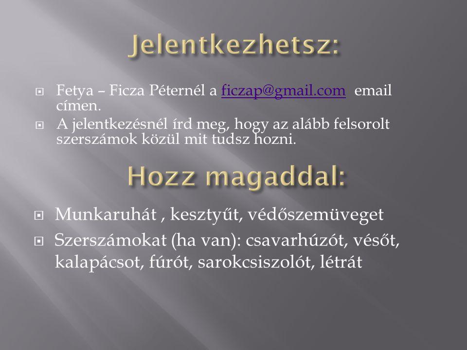  Fetya – Ficza Péternél a ficzap@gmail.com email címen.ficzap@gmail.com  A jelentkezésnél írd meg, hogy az alább felsorolt szerszámok közül mit tudsz hozni.