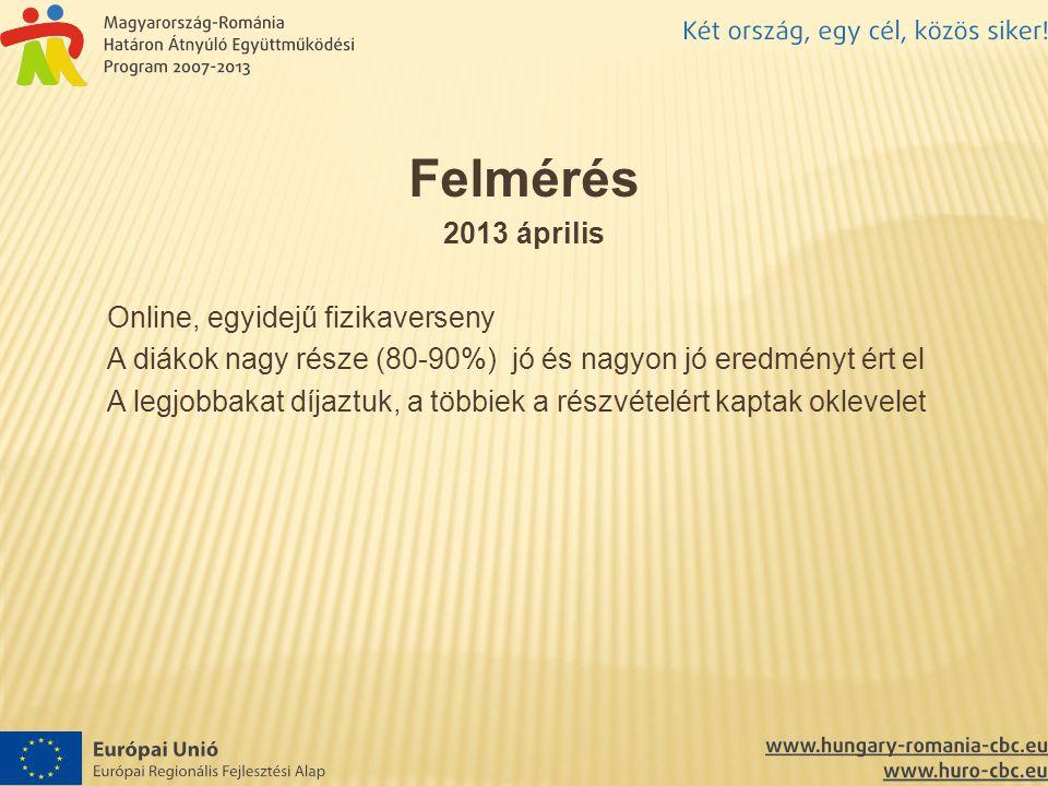 Felmérés 2013 április Online, egyidejű fizikaverseny A diákok nagy része (80-90%) jó és nagyon jó eredményt ért el A legjobbakat díjaztuk, a többiek a részvételért kaptak oklevelet