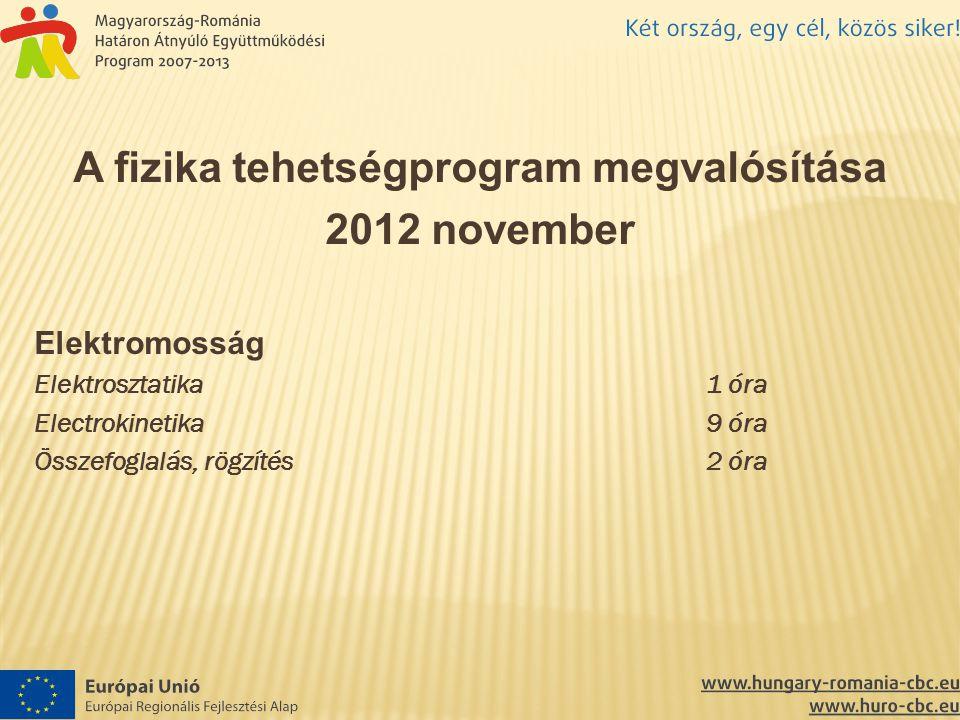 A fizika tehetségprogram megvalósítása 2012 november Elektromosság Elektrosztatika1 óra Electrokinetika9 óra Összefoglalás, rögzítés2 óra