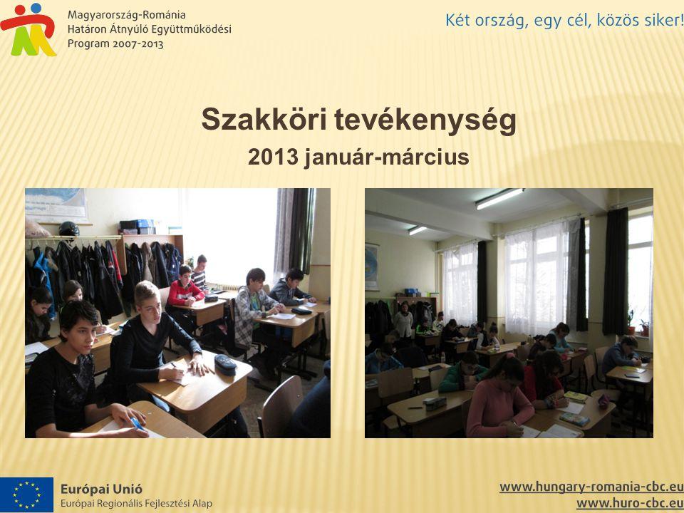 Szakköri tevékenység 2013 január-március