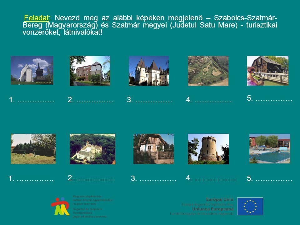 Feladat: Nevezd meg az alábbi képeken megjelenő – Szabolcs-Szatmár- Bereg (Magyarország) és Szatmár megyei (Judetul Satu Mare) - turisztikai vonzerőket, látnivalókat.