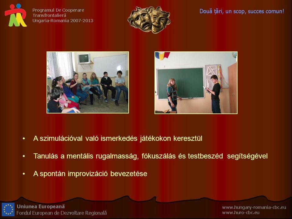 A szimulációval való ismerkedés játékokon keresztül Tanulás a mentális rugalmasság, fókuszálás és testbeszéd segítségével A spontán improvizáció bevezetése