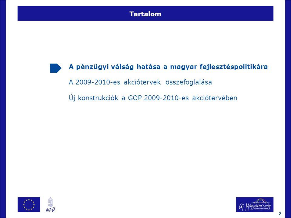 Tartalom A pénzügyi válság hatása a magyar fejlesztéspolitikára A 2009-2010-es akciótervek összefoglalása Új konstrukciók a GOP 2009-2010-es akciótervében 2