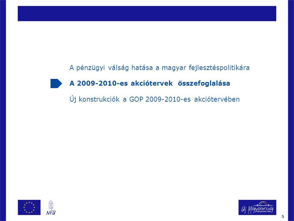 A pénzügyi válság hatása a magyar fejlesztéspolitikára A 2009-2010-es akciótervek összefoglalása Új konstrukciók a GOP 2009-2010-es akciótervében 5