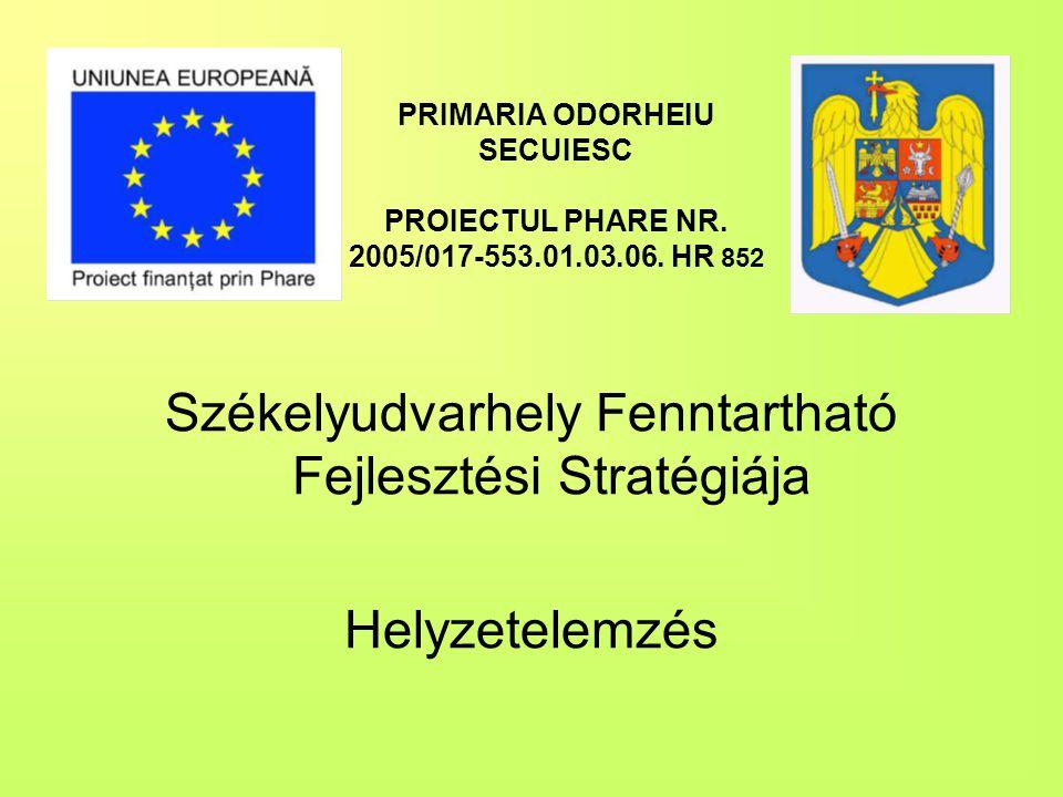 PRIMARIA ODORHEIU SECUIESC PROIECTUL PHARE NR. 2005/017-553.01.03.06. HR 852 Székelyudvarhely Fenntartható Fejlesztési Stratégiája Helyzetelemzés