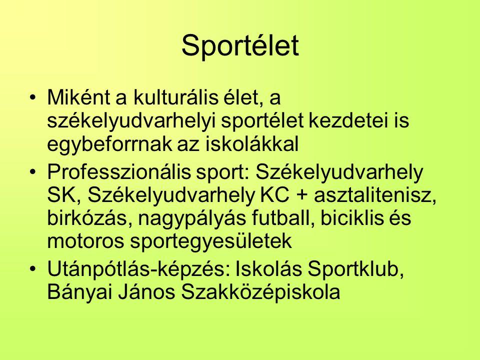 Sportélet Miként a kulturális élet, a székelyudvarhelyi sportélet kezdetei is egybeforrnak az iskolákkal Professzionális sport: Székelyudvarhely SK, Székelyudvarhely KC + asztalitenisz, birkózás, nagypályás futball, biciklis és motoros sportegyesületek Utánpótlás-képzés: Iskolás Sportklub, Bányai János Szakközépiskola