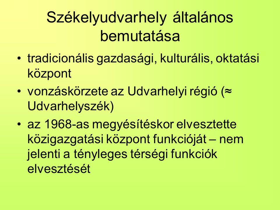 Székelyudvarhely általános bemutatása tradicionális gazdasági, kulturális, oktatási központ vonzáskörzete az Udvarhelyi régió (≈ Udvarhelyszék) az 196
