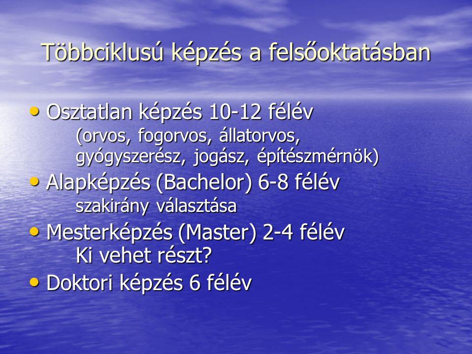 Többciklusú képzés a felsőoktatásban Osztatlan képzés 10-12 félév (orvos, fogorvos, állatorvos, gyógyszerész, jogász, építészmérnök) Osztatlan képzés
