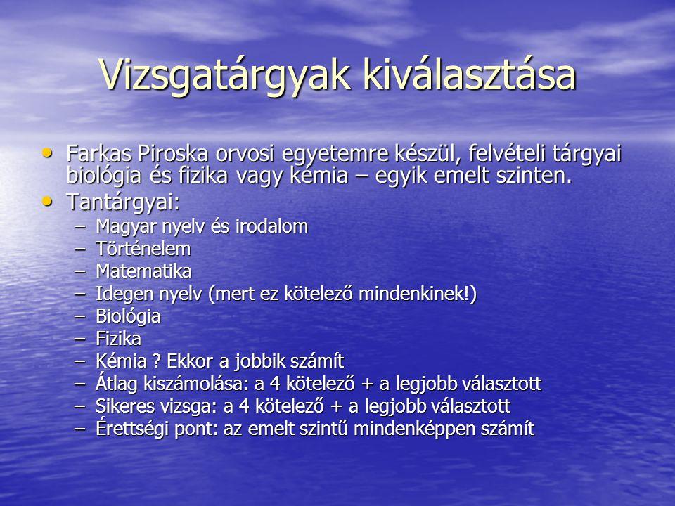 További információk Osztályfőnök Osztályfőnök Igazgatóság Igazgatóság Internet Internet –www.oh.gov.hu –www.felvi.hu –egyetemi honlapok