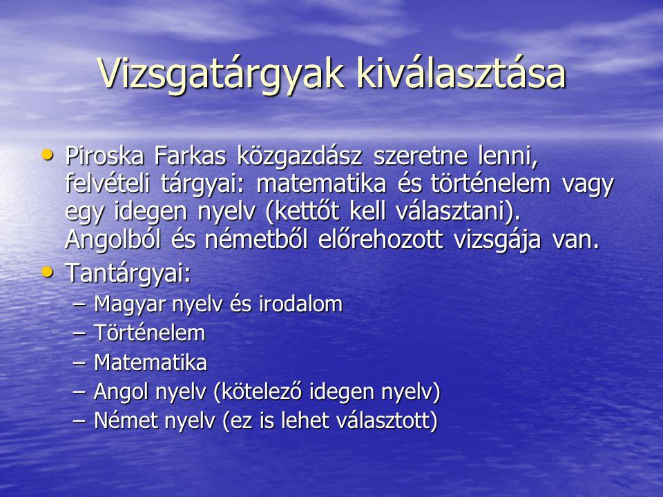 Vizsgatárgyak kiválasztása Piroska Farkas közgazdász szeretne lenni, felvételi tárgyai: matematika és történelem vagy egy idegen nyelv (kettőt kell vá