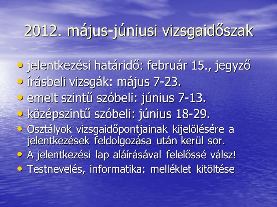2012. május-júniusi vizsgaidőszak jelentkezési határidő: február 15., jegyző jelentkezési határidő: február 15., jegyző írásbeli vizsgák: május 7-23.