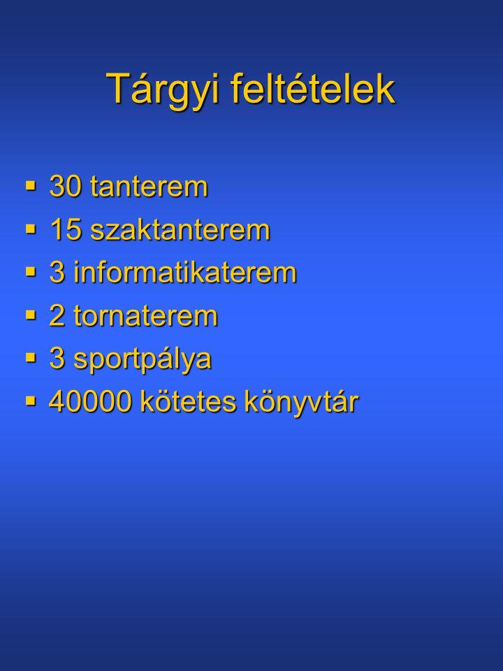 Tárgyi feltételek  30 tanterem  15 szaktanterem  3 informatikaterem  2 tornaterem  3 sportpálya  40000 kötetes könyvtár